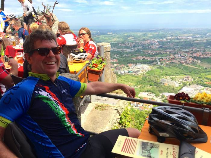 Gerry enjoys a well-deserved break after biking from the coast to the summit of San Marino